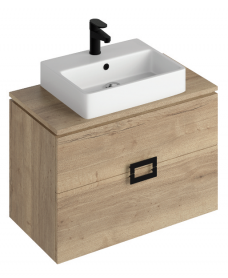 Katie Halifax Oak 80 CounterTop Vanity Unit and Brook Basin