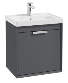 Fjord Midnight Grey Matt 50cm Wall Hung Vanity Unit-Brushed Chrome Handle