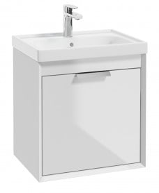Fjord Gloss White 50cm Wall Hung Vanity Unit-Brushed Chrome Handle
