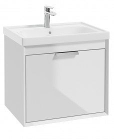 Fjord Gloss White  60cm Wall Hung Vanity Unit-Brushed Chrome Handle