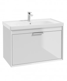 Fjord Gloss White 80cm Wall Hung Vanity Unit-Brushed Chrome Handle