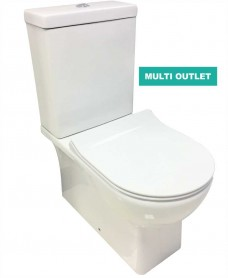 Denver Fully Shrouded Toilet and SLIM Soft Close Seat - multi outlet
