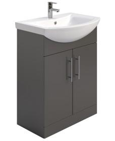 Belmont 65cm Vanity Unit & Basin Gloss Grey