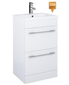 Cairo 50cm Vanity Unit 2 Drawer White and Basin