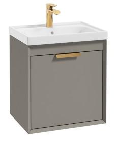 Fjord Khaki Matt 50cm Wall Hung Vanity Unit-Brushed Gold Handle