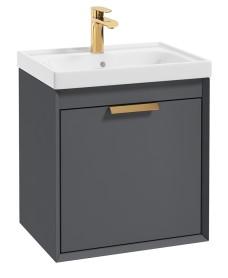 Fjord Midnight Grey Matt 50cm Wall Hung Vanity Unit-Brushed Gold Handle