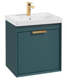 Fjord Ocean Blue Matt 50cm Wall Hung Vanity Unit-Brushed Gold Handle