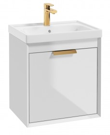 Fjord Gloss White 50cm Wall Hung Vanity Unit-Brushed Gold Handle