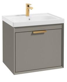 Fjord Khaki Matt 60cm Wall Hung Vanity Unit-Brushed Gold Handle