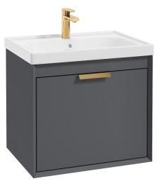 Fjord Midnight Grey Matt 60cm Wall Hung Vanity Unit-Brushed Gold Handle