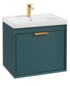 Fjord Ocean Blue Matt 60cm Wall Hung Vanity Unit-Brushed Gold Handle