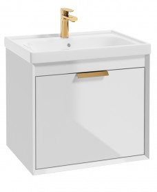 Fjord Gloss White  60cm Wall Hung Vanity Unit-Brushed Gold Handle