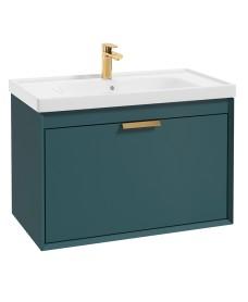 Fjord Ocean Blue Matt 80cm Wall Hung Vanity Unit-Brushed Gold Handle