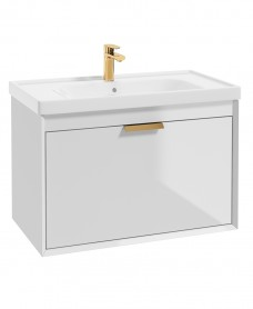 Fjord Gloss White 80cm Wall Hung Vanity Unit-Brushed Gold Handle