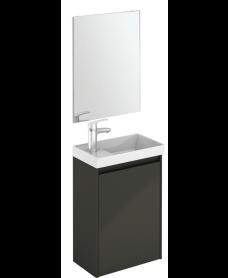 Dijon Gloss Grey 45 Wall Hung Vanity Unit and Mirror.