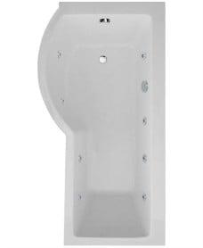 P Shaped 1700 x 900 shower bath Left hand 8 jet bath cw Panel & Bath screen