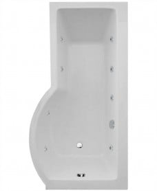 P Shaped 1700 x 900 shower bath Right hand 8 jet bath cw Panel & Bath screen