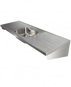 Jersey HTM64 Sit-on Sink 1800x600mm Single Bowl Double Drainer