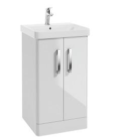 Odeon Gloss White 500mm 2 Door Vanity Unit & Basin