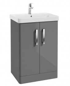 Odeon Steel Grey 600mm 2 Door Vanity Unit & Basin