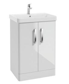 Odeon Gloss White 600mm 2 Door Vanity Unit & Basin