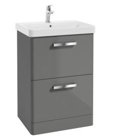 Odeon Steel Grey 600mm 2 Drawer Vanity Unit & Basin