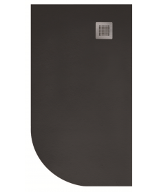 Slate 1000x800 Offset Quadrant Shower Tray RH Black - Anti Slip