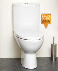 Parva Close Coupled Toilet & Soft Close Seat - Short Projection 615mm