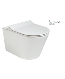 Reflections Wall Hung Rimless Toilet with SLIM Soft Close Seat