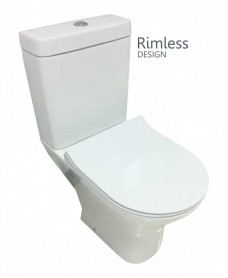 Resort Close Coupled Rimless Toilet & SLIM Soft Close Seat