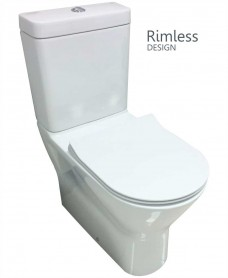 Resort Close Coupled Fully Shrouded Rimless Toilet & SLIM Soft Close Seat