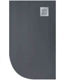 Slate 1000x800 Offset Quadrant Shower Tray RH Anthracite - Anti Slip