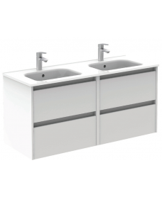Smart Gloss White 120cm Vanity Unit 4 Drawer and Slim Basin