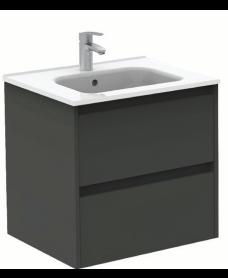 Smart Gloss Grey 60cm Vanity Unit 2 Drawer and Slim Basin