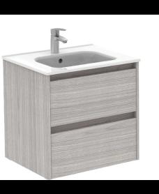 Smart Sandy Grey 60cm Vanity Unit 2 Drawer and Slim Basin