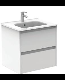 Smart Gloss White 60cm Vanity Unit 2 Drawer and Slim Basin