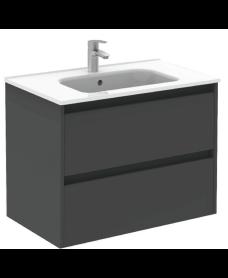 Smart Gloss Grey 80cm Vanity Unit 2 Drawer and Slim Basin