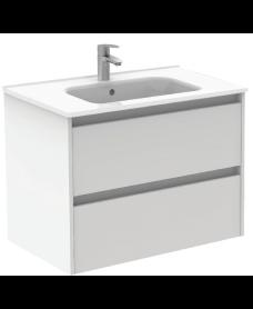 Smart Gloss White 80cm Vanity Unit 2 Drawer and Slim Basin