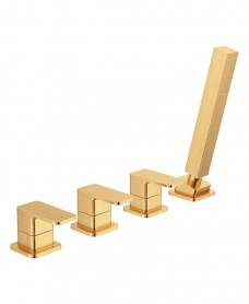 Contour 4 Hole Bath Shower Mixer Brushed Gold