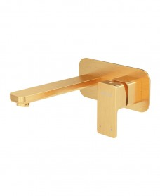 Contour Eco Flow Wall Mounted Basin Mixer Brushed Gold