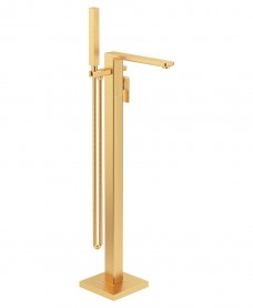 Contour Freestanding Bath Shower Mixer Brushed Gold