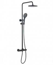 Nero Black Round Thermostatic Shower Kit
