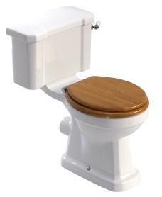 Westbury Traditional Close Coupled Toilet & Oak MDF Soft Close Seat