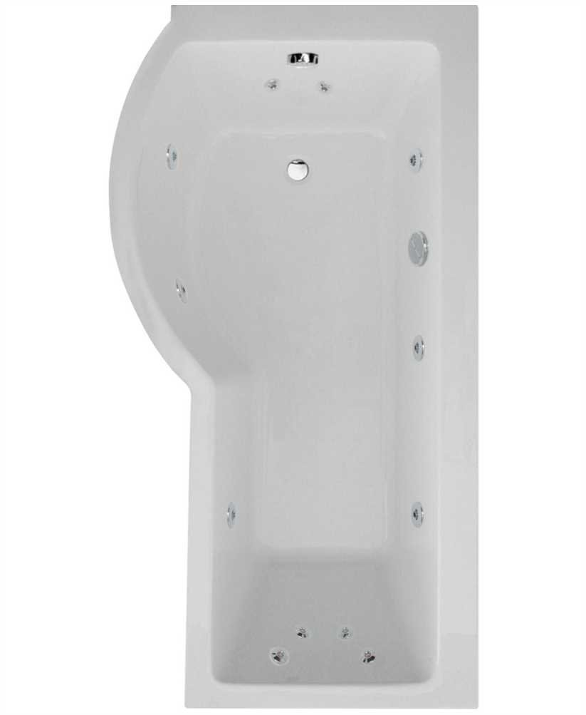 P Shaped 1700 X 900 Shower Bath Left Hand 12 Jet Bath Cw