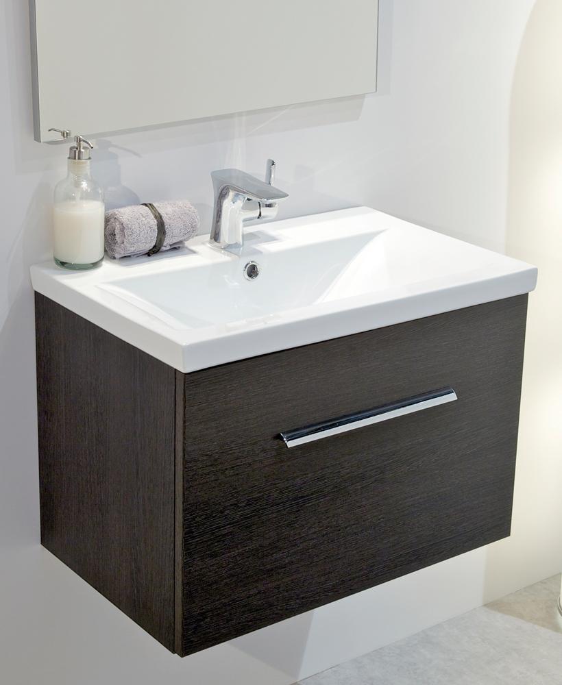 Nova Dark Wood Slimline 50cm Wall Hung Vanity Unit Slimline Vanity Units Bathroom Furniture