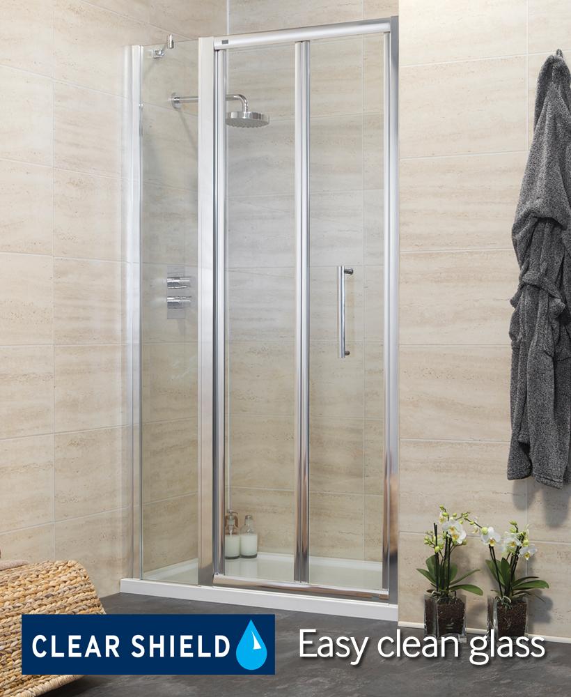 Revive 1000 bifold shower door with single infill panel for 1000 bifold shower door